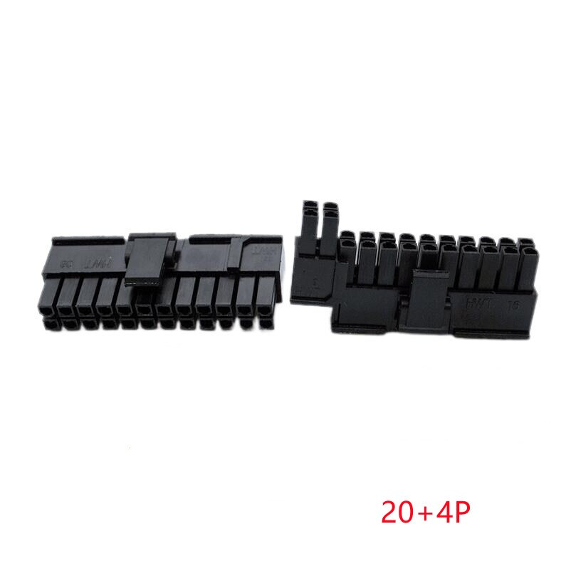 20PCS/1Lot 5557 4.2mm Black/ 20+4P 24PIN Male Plug Plastic Shell For PC Computer ATX Motherboard Power Connector Housing for crown reiz electronic steering computer plug electronic power steering computer plug connector