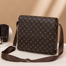 GLMAHUA Brown Crossbody Bag For Men Vintage Leather Man Messenger Bag Business Briefcase Printed Sli