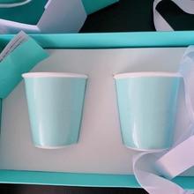 2 tasses de porcelaine dos bleu avec boîte et sac porcelaine café thé lait eau tasse petit déjeuner boisson articles de luxe cadeaux danniversaire de mariage