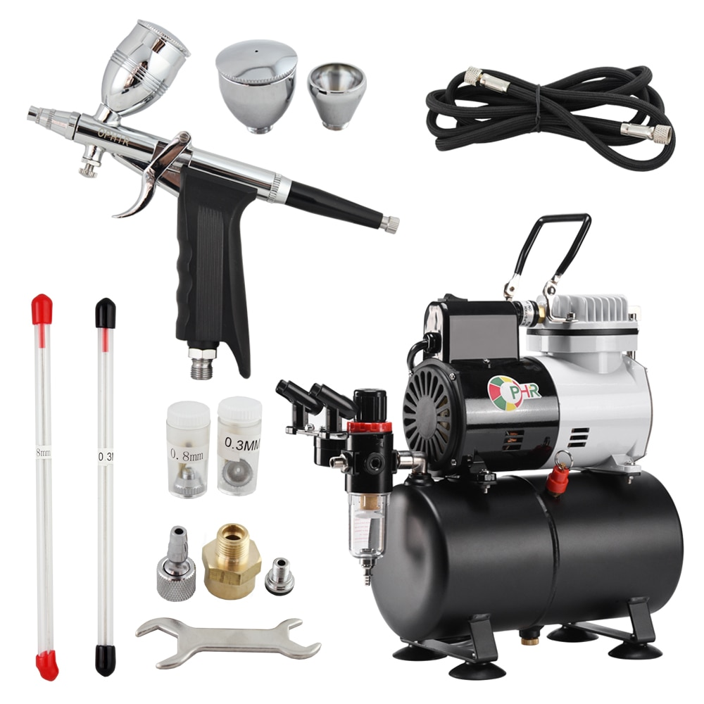 OPHIR Dual Action Spray Gun & Air Compressor with Tank Touch-Up Auto Paint Sprayer Airbrush Kit for Craftwork Body Art AC115+069