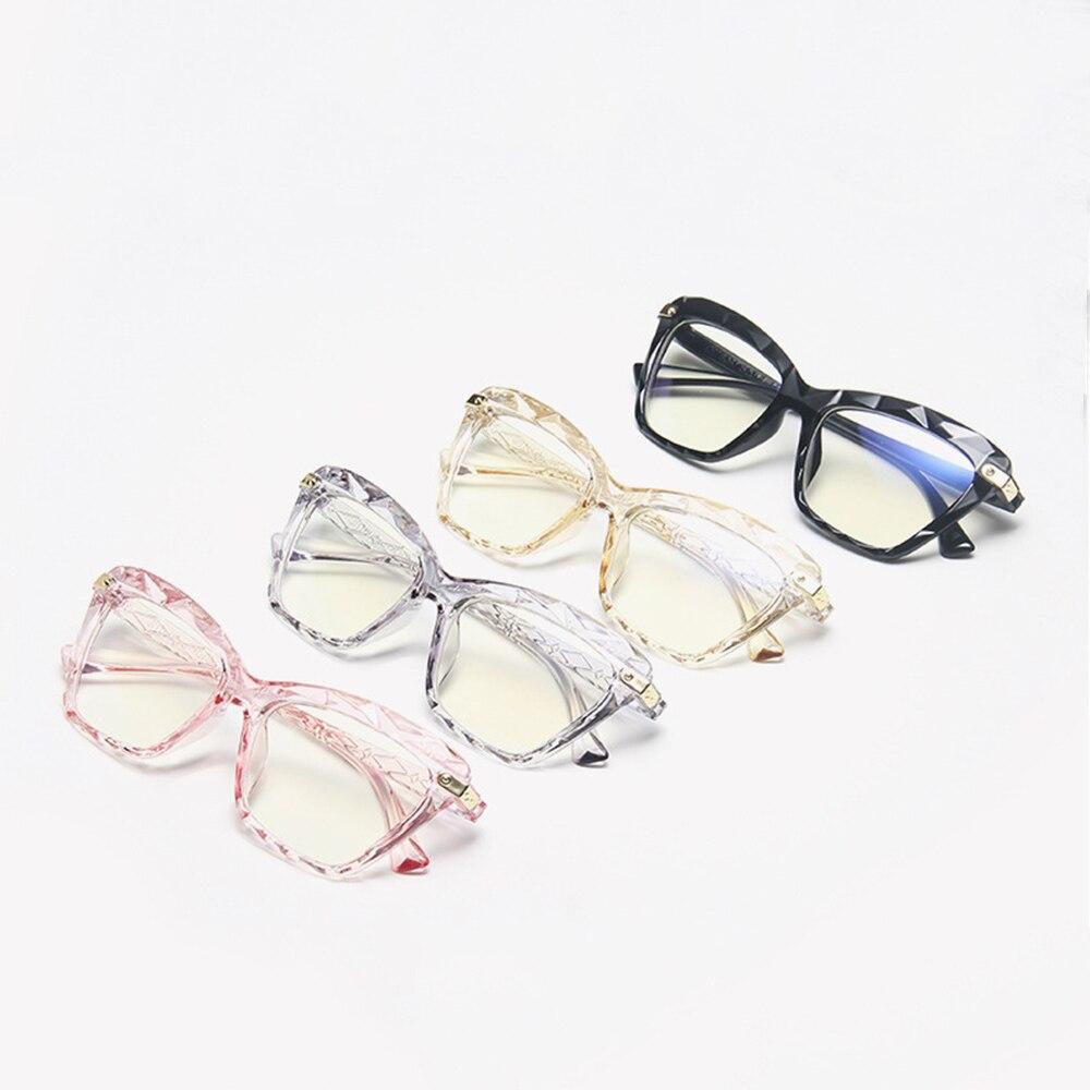 Women Anti Blue Light Cat Eye Crystal Multi-faceted Glasses Black Frame Computer Female Eyeglasses