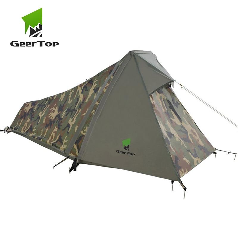 GeerTop Eine Person Bivy Zelt 3-4 Saison Camping Zelte Ultraleicht Wasserdicht Armee Bivvy Zelte Outdoor Wandern Rucksack Tourist