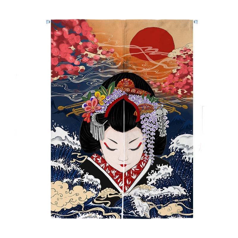ثوب الكيمونو الياباني سيدة ستارة الباب التقسيم النسيج الحمام السوشي فندق المنزل المطبخ مطعم Biparting شاشة مفتوحة الديكور