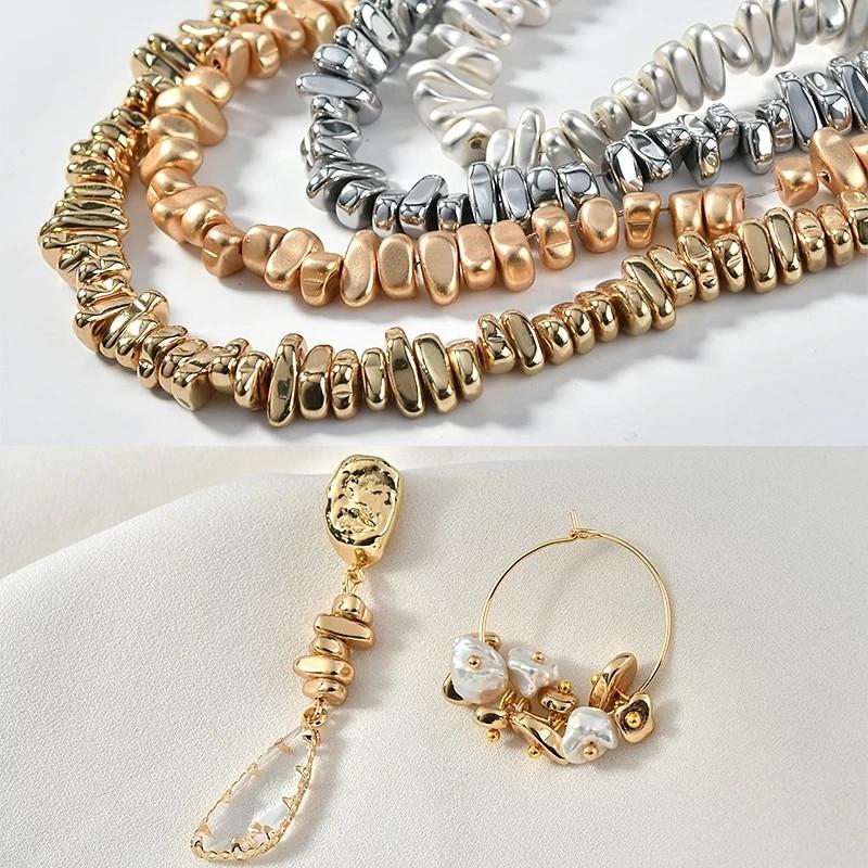 105 teile/los Unregelmäßig geformte galvani perlen KC gold handgemachte perlen material DIY armband ohrringe 1pcs