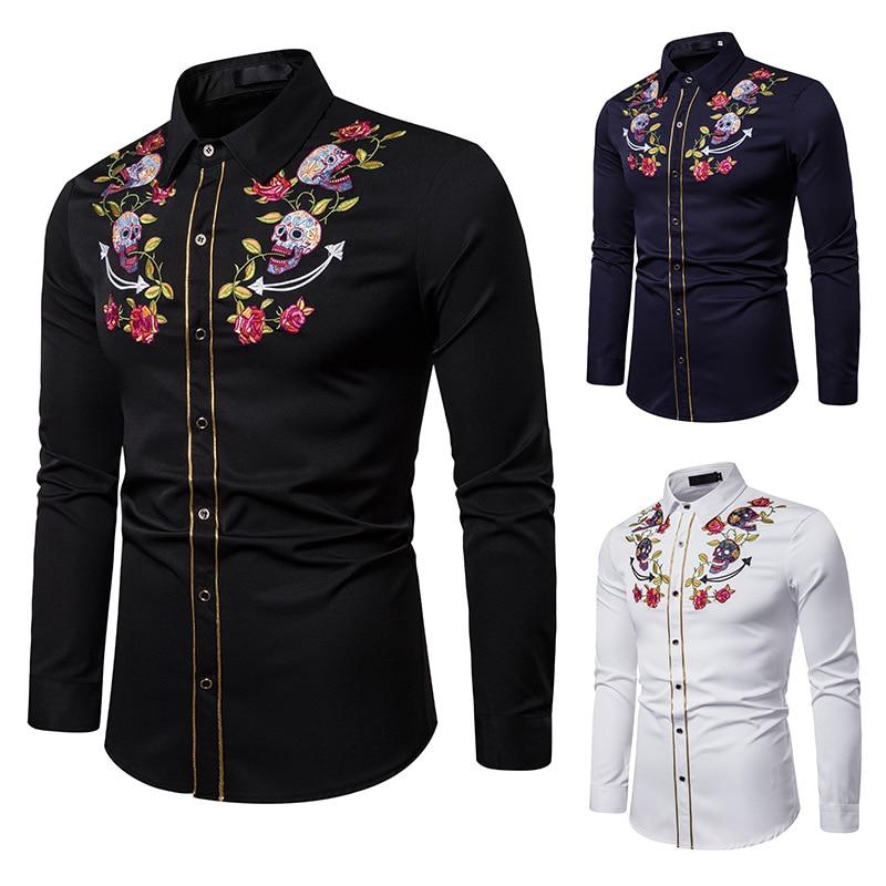Camisas de vaquero occidental de moda con bordado Floral de calavera para hombre, camisas de fiesta con botones de manga larga informales ajustadas, camisas para hombre Eu S-2XL