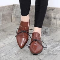 2021 spring women flats pointed toe fashion lace up casual shoes woman classic bullock footwear female handmade zapatos de mujer