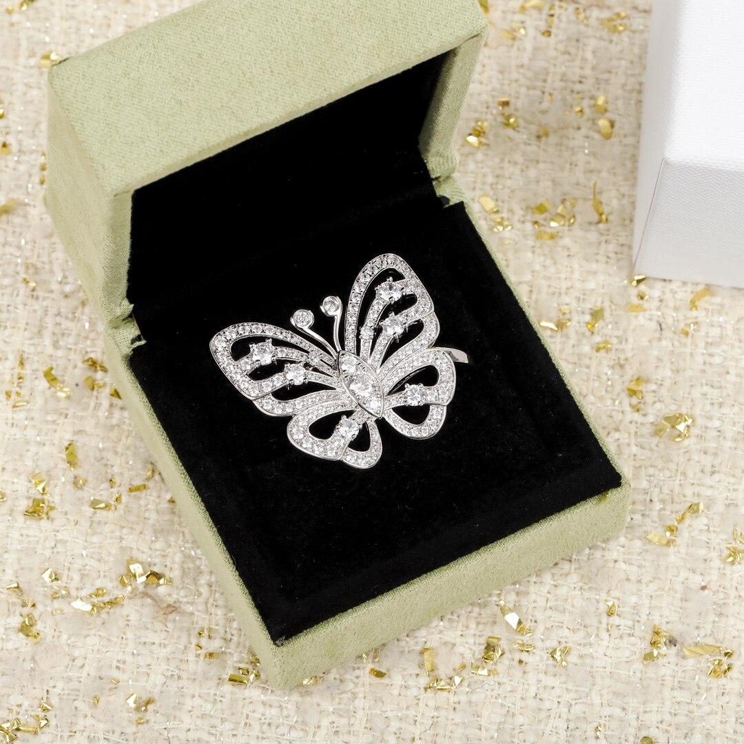العلامة التجارية الفاخرة الشهيرة فراشة الماس خاتم فضة المرأة حُليات المجوهرات عالية الجودة مصمم الزفاف صديقة هدية بيجو تريند