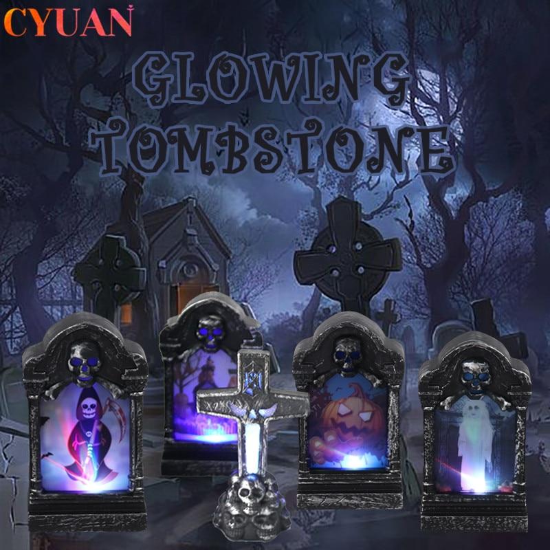 Halloween LED Glowing Grabstein Ghost Schädel Kreuz Simulation Retro Grabstein Licht Halloween Outdoor Horror Garten Dekorationen
