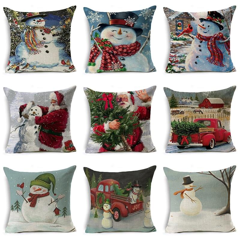 The snowman pillow cases Santa Claus Gift Christmas Series Snowman Xmas Sofa Car Pillow Case Throw Home Decor Cushion Cover 2019 christmas throw pillow covers santa clause 0utdoor pillow decorations for home sofa bed pillowcase xmas party kids gift
