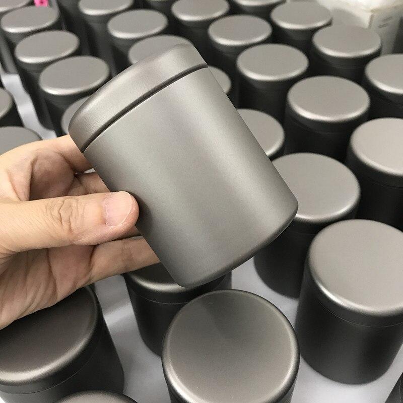 علبة شاي من التيتانيوم الخالص مع أغطية محكمة الغلق ، أداة مطبخ صغيرة لتخزين سكر القهوة