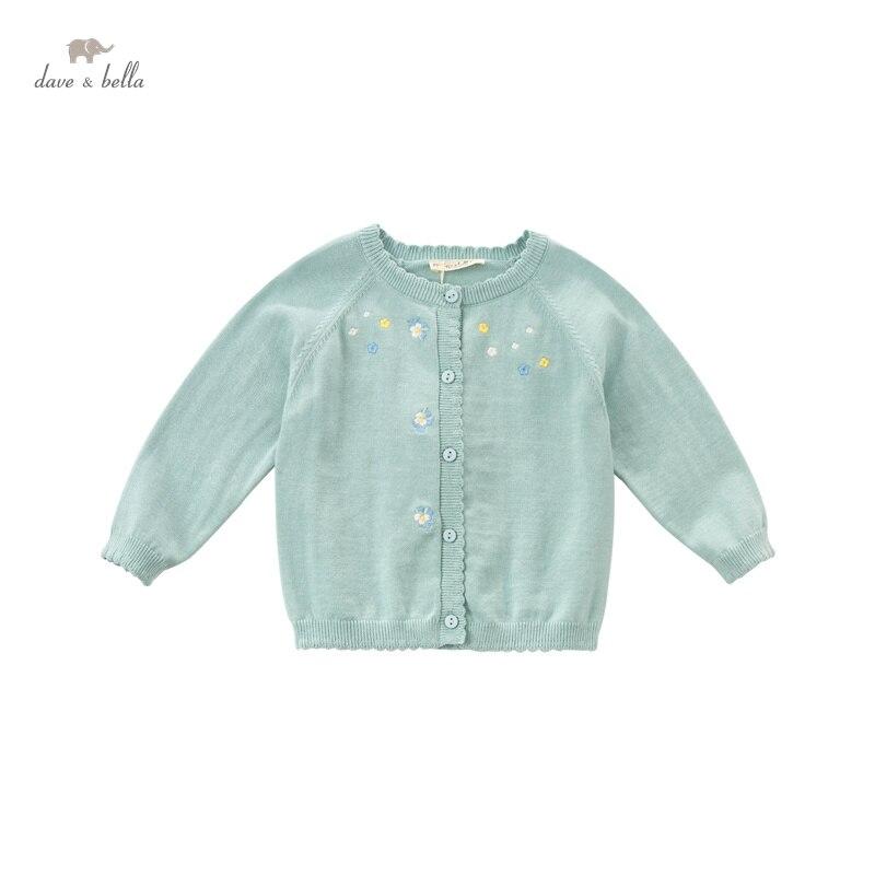 DBZ16657 ديف بيلا الربيع الرضع طفل الفتيات الأزياء الأزهار التطريز سترة الاطفال طفل معطف الأطفال لطيف محبوك سترة