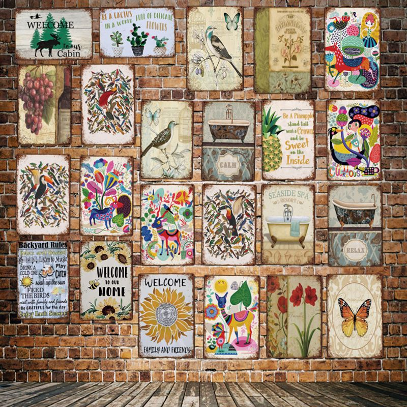 [DecorMan] сад цветок птица ванна ананас виноград жестяные знаки на заказ металлические постеры Бар Декор LT-1797