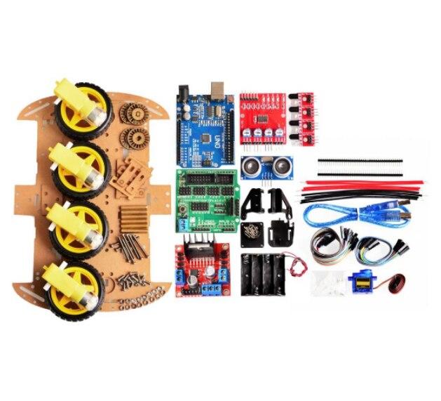 Evitar de seguimiento inteligente de Motor Robot Kit de chasis de coche velocidad codificador batería 2WD 4WD de módulo para Arduino