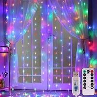USB LED Rideau Lumiere Avec crochet Fee Chaine Lumieres 8Mode 3X3M 3X1M 3X2M Fee Guirlande Pour Mariage En Plein Air romantique Decor A La Maison