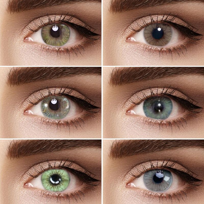 1 par de lentes de contacto coloreadas de la serie fantasy-sandy para uso anual de lentes de contacto cosméticas Color de ojos verde azul gris