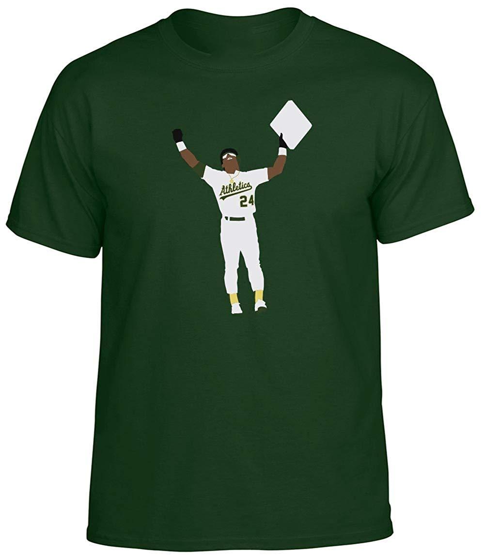 Green Oakland Henderson Stolen Base T-Shirt  2019 Fashion