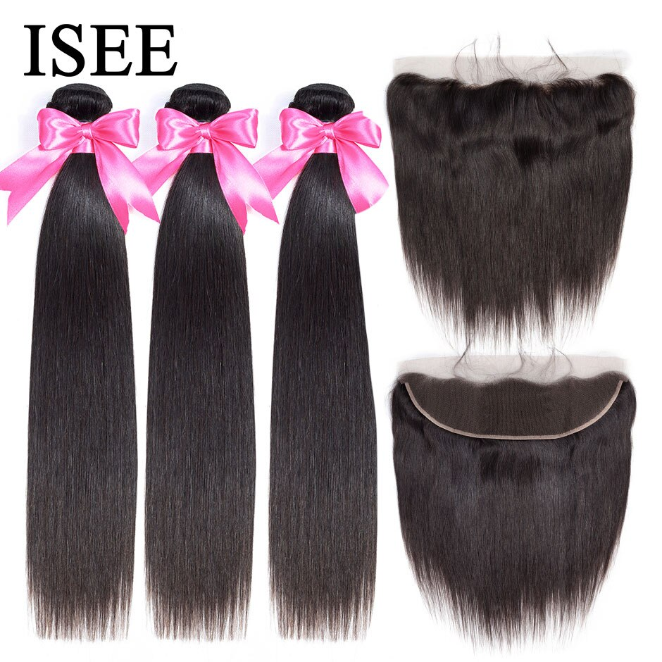 ISEE HAIR Straight Hair Bundles With Frontal 13*4 Lace Frontal With Bundles Brazilian Straight Human