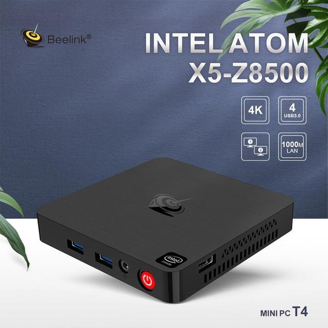 Beelink T4 Mini PC Win10 Intel Atom X5-Z8500 4G RAM 64G ROM RJ45 USB3.0 BT4.0 Dual WIFI 2.4G+5.8G 12V 1.5A Mini Computer 10