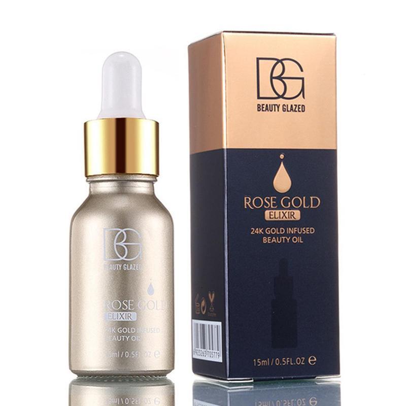 Belleza cristal maquillaje primera capa facial 24k oro rosa base facial labios crema hidratante base aceite 15ml