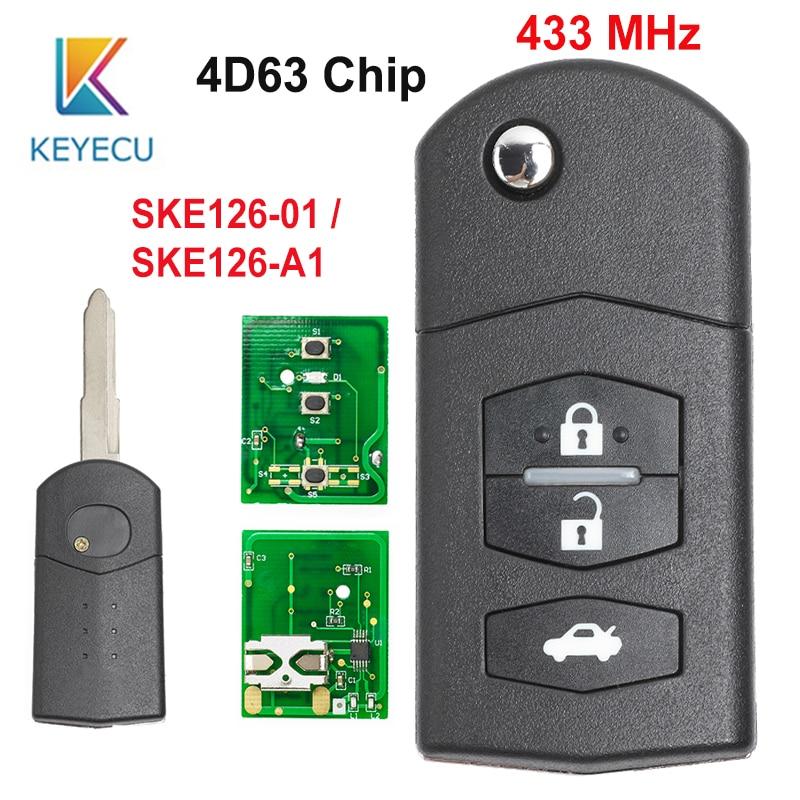 KEYECU 2 1 3 Buttons Repacement Remote Car Key Fob 433MHz 4D63 Chip SKE126-01 SKE126-A1 for Mazda 2 3 5 6 MX5 RX8 2007 2008 2009