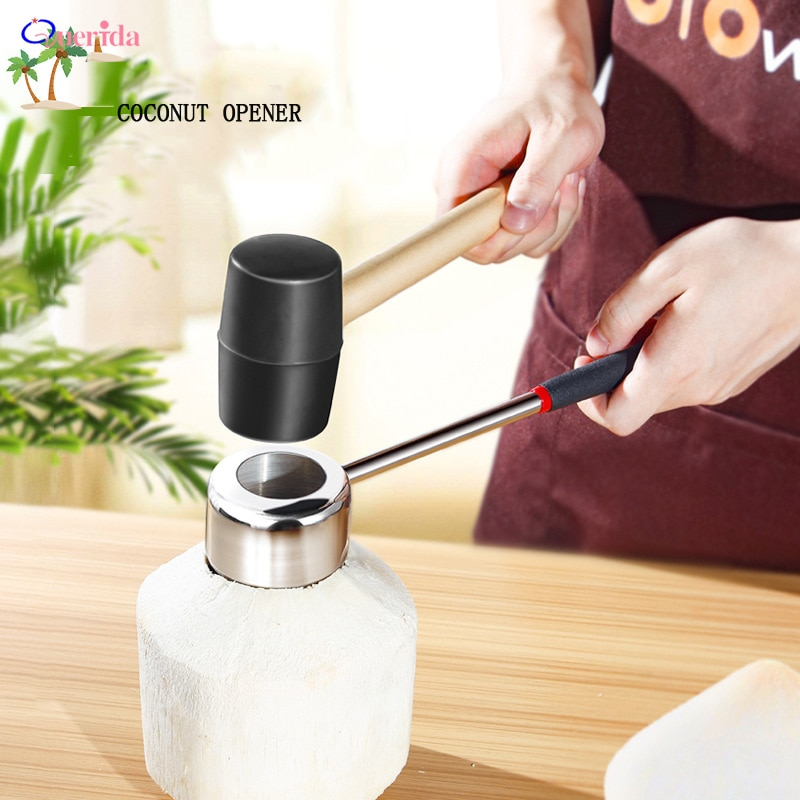 Coconut Opener 304 Stainless Steel Coconut Shell Opener Puncher Rubber Hammer Food Grade Kitchen Tool Set Fruit Coconut Opener