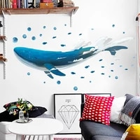 lovely hand painted blue whale wall stickers for kids room decal bedroom living room decoration wall paper poster diy stickers