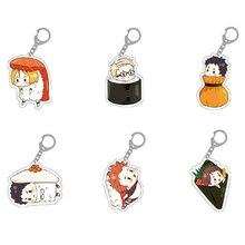 1 pièces mignon Sushi Style porte-clés Anime Haikyuu Hinata Shoyo Kenma Kozume Nishinoya Yu Tobio Kageyama acrylique porte-clés figurine jouet
