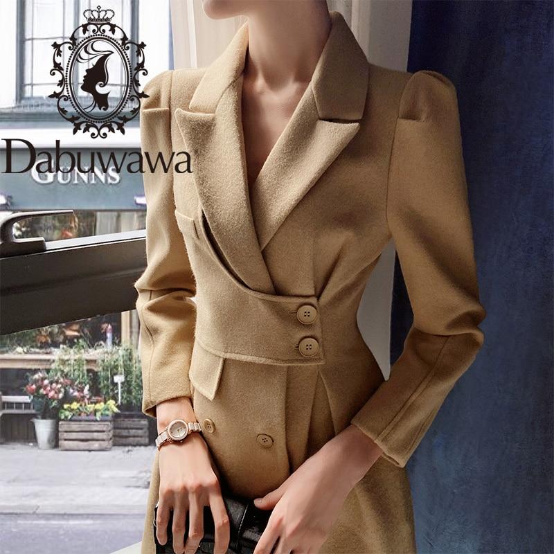 Dabuwawa معطف طويل للسيدات, معطف طويل أنيق ملائم للخريف والشتاء ومزود بحزام وأكمام منتفخة DT1DLN011