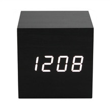 30 Acoustic Control Alarm Wood cube Clock LED Calendar Creative Thermometer Electronic display Bedro