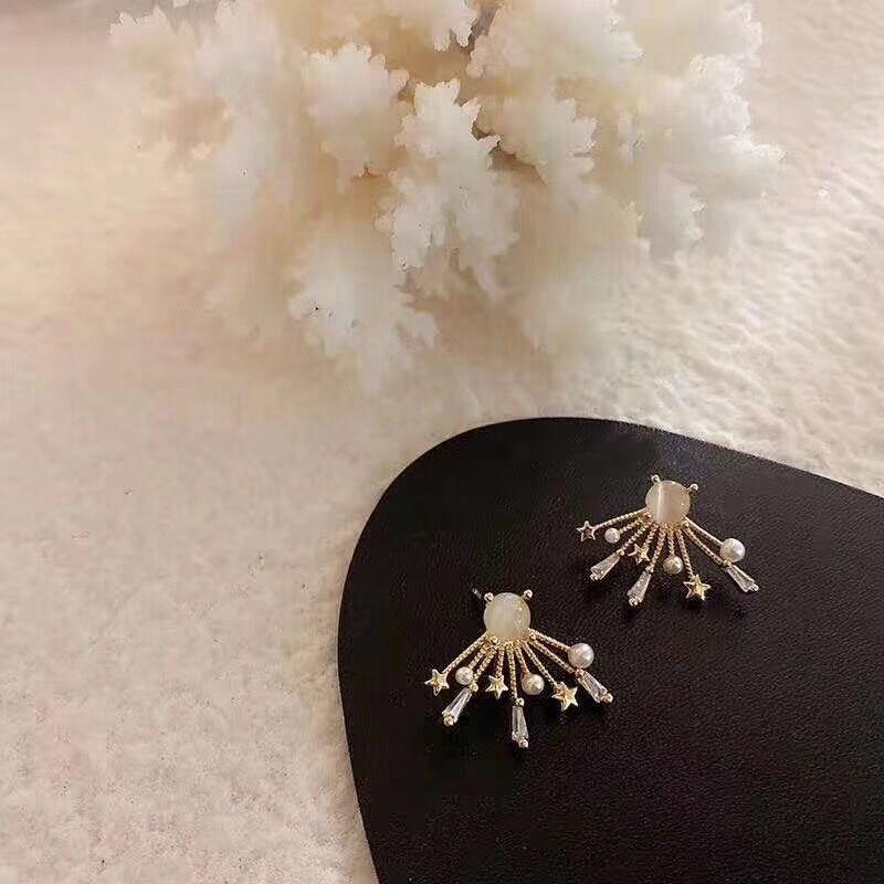 Pendientes con pasador de circón geométrico 2020 para mujer, pendientes con forma de abanico de fuegos artificiales de perlas simples a la moda, joyería pequeña con estrella de Metal