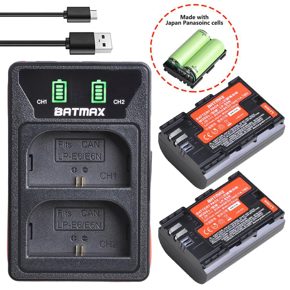 2 pc 2040 mah LP-E6 LP-E6N lp e6 bateria japão celular + led embutido carregador usb para canon 5d mark ii iii iv 70d 5ds 6d 5ds 80d 60d
