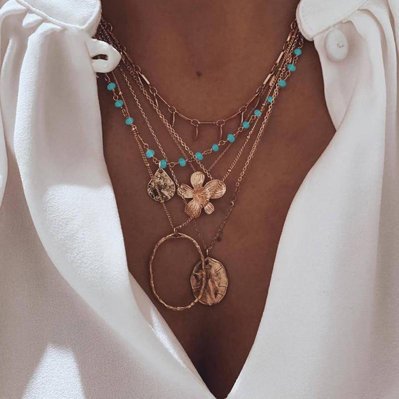 Retro feminino colares flor redonda gotas azul grânulo geométrico pingente clavícula corrente multicamadas colar de ouro conjunto de jóias de casamento