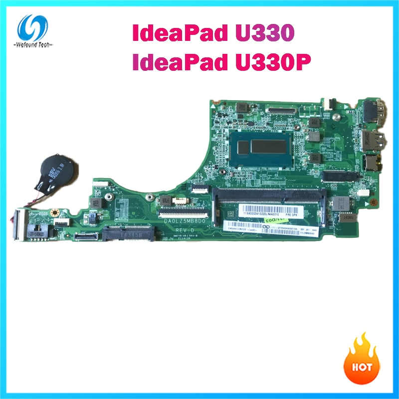 اللوحة المحمول لينوفو Ideapad U330 U330P DA0LZ5MB8D0 REV:D SR16Q I3-4010U DDR3 100% اختبار قبل الشحن