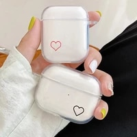 soft tpu earphone cases for airpods pro 3 clear protective cover for apple airpods 1 or 2 charging box cute heart design