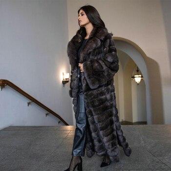 X-long Real Fox Fur Coats Woman Winter Fashion 120cm Long Turn-down Collar Natural Fox Fur Coat Female Outwear Luxury Fur Coat