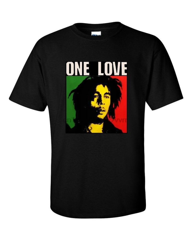 Un amor BOB MARLEY camiseta negra Marley reggae Jamaica, escape, Sin City, blanco sobre negro, silkscreen, mano impresa, Camiseta de algodón,