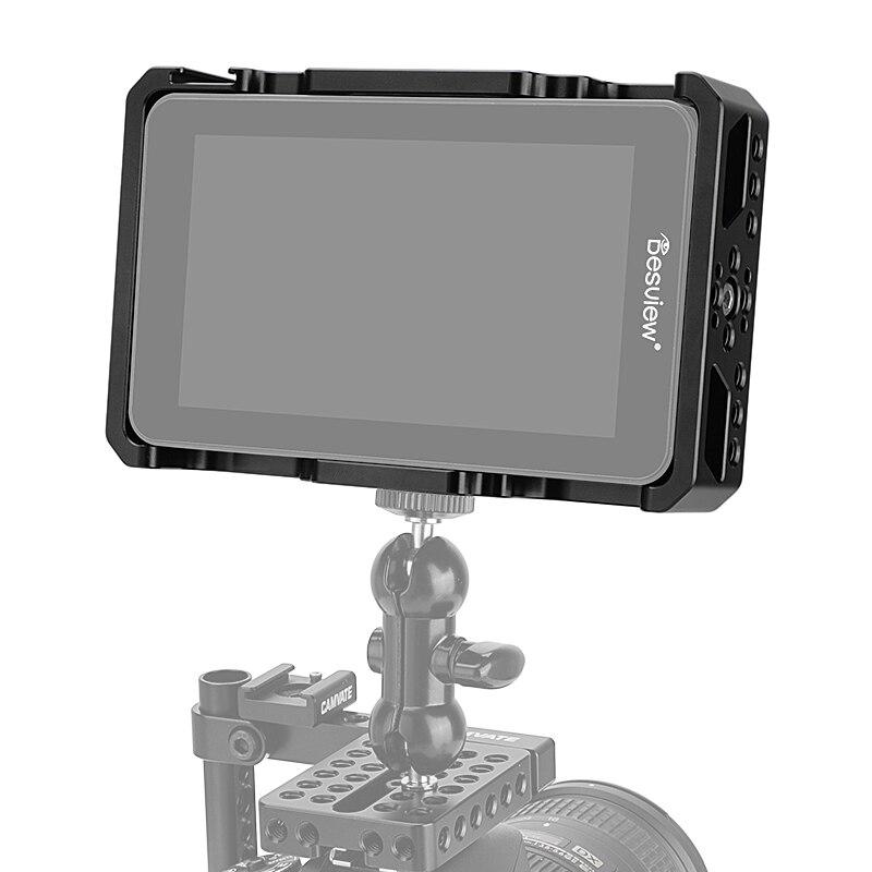 طقم قفص واقي من kimrigview Destview R6 UHB مقاس 5.5 بوصة 2800nit 4K (استخدام حصري) مع نقاط تركيب 1/4 بوصة وتركيب أحذية