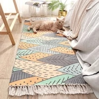 carpets for bed room nordic manual tassel cotton floor mat non slip plaid rugs washable alfombra home decoration balcony tapetes
