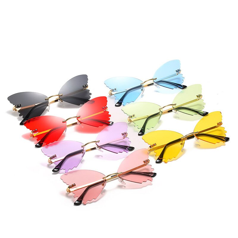 2021 new personality butterfly shape sunglasses female colorful ocean sheet rimless sunglasses men and women retro glasses