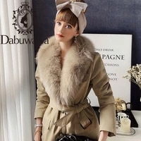 dabuwawa elegant winter women parka coat jacket with fox fur collar long warm coats jacket fashion design female dt1dpk028