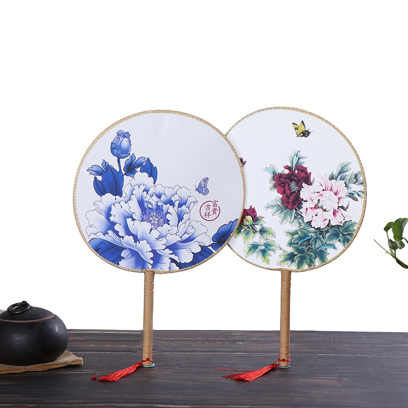1PCS Chinese Style Round Hand Held Folding Silk Fan For Wedding Event Party Supplies Random