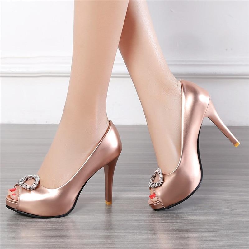 High Heels Platform Shoes Woman Peep Toe Pumps Women Rose Gold Silver Evening Wedding Shoes Bridal Size 33 41 42 43 talon femme