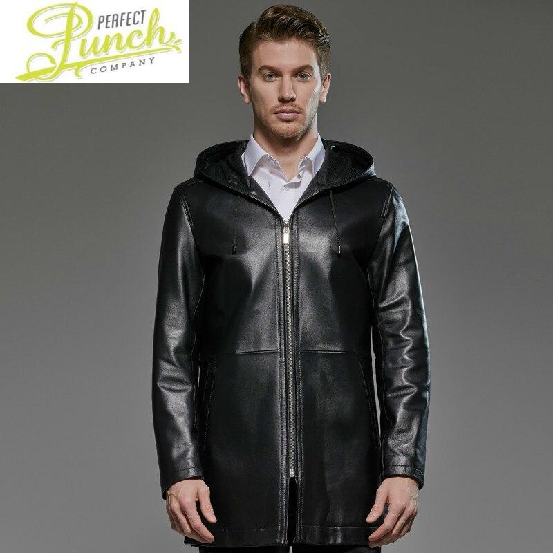 سترة رجالية من الجلد الطبيعي 2021 بمقاسات كبيرة بغطاء للرأس معطف 100% من جلد الغنم سترة واقية طويلة Chaqueta Cuero Hombre 181719 KJ2291