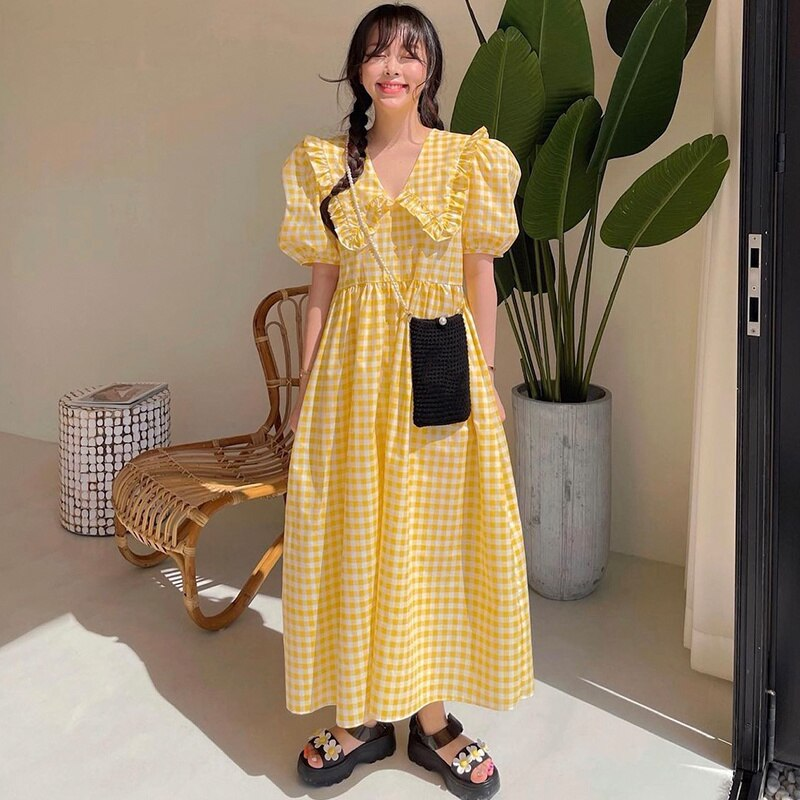 South Korean Chic Summer Dress Sweet Dresses Edge Splicing Baby Loose Bubble Sleeve Dress