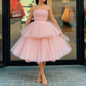 Pink Party Gowns A-line Net/Tulle Strapless Tea length Sleeveless Party GownsFold\Ruffle Layered  Draped Party Dresses