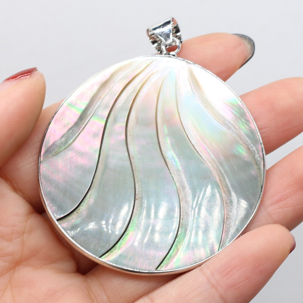 1PC Natural Shell Pendant Handmade Carving Mother of Pearl Shell Charms for Jewelry Making DIY Necklace Accessories Size 50x50mm  - buy with discount