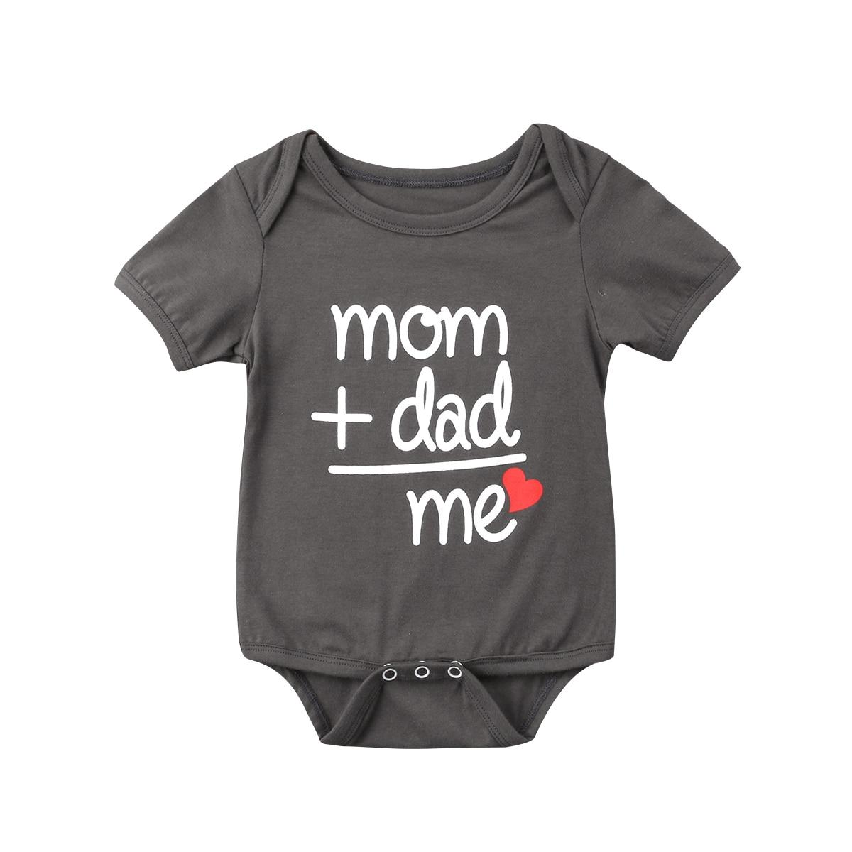 2020 mãe pai me bebê recém-nascido menina menino bodysuit crianças manga curta carta impressão babygrow verão crianças playsuit roupas