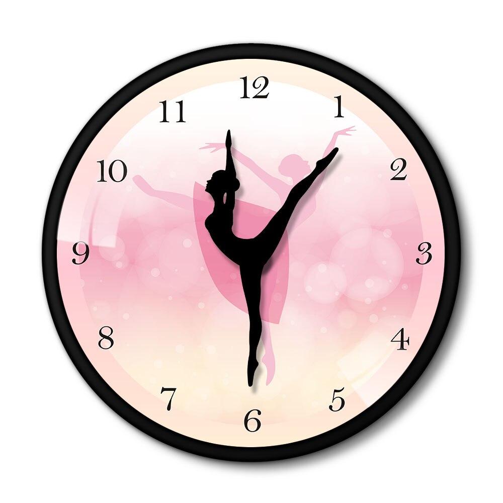 Morden desgin rosa bailarina dança meninas relógio de parede com metal preto moldura alumínio elegante menina quarto decorativo horloge klok