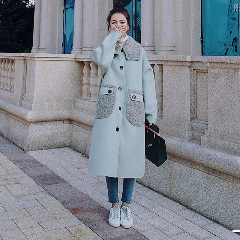 المرأة صوف الضأن وسادة مبطنة سميكة طويلة الشتاء الرجعية متقلب خياطة التلبيب واحدة الصدر الكورية فضفاض القطن معطف
