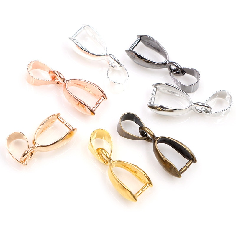 AliExpress - 50pcs/lot 5x14mm 6x17mm 8x20mm 7 Colors Plated Pendants Clasps Clips Bails Connectors Copper Charm Bail Beads Jewelry Findings